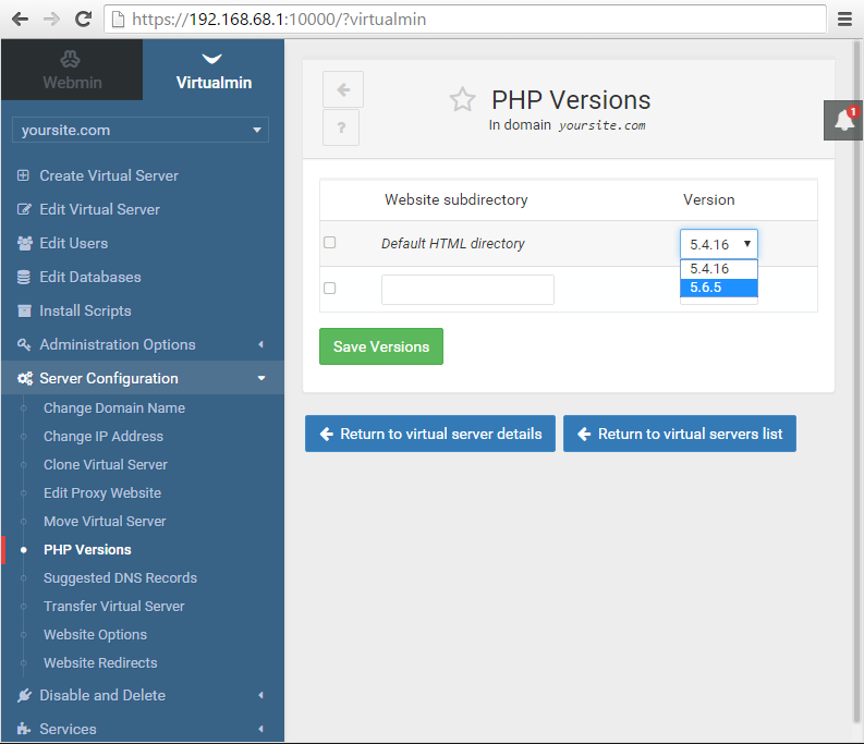 Virtualmin multiple PHP version selection