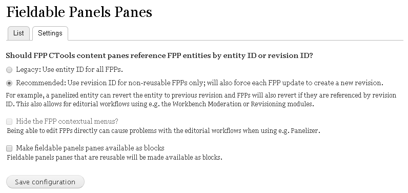 Fieldable Panels Panes settings