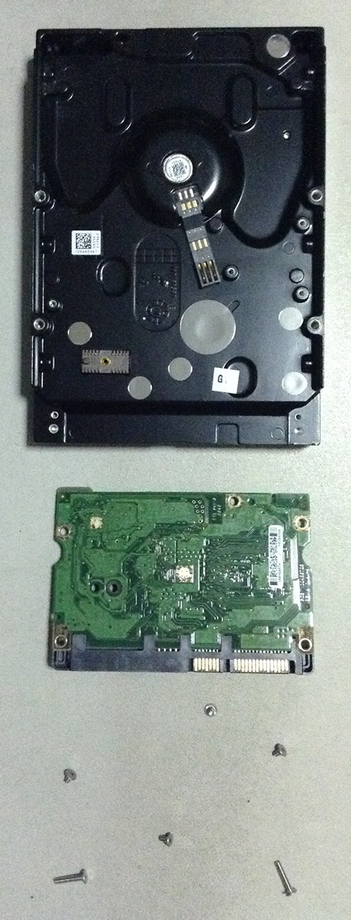 Disassembled hard disk