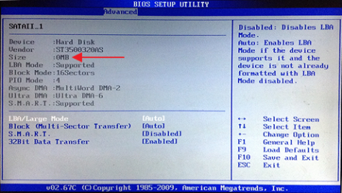 BIOS showing hard disk status